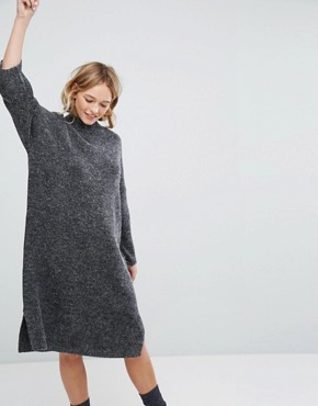 photo Knitted Midi Dress by Monki, color Grey - Image 1