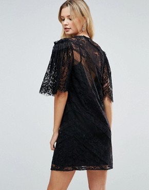 photo Delicate Lace Patchwork Flutter Sleeve Mini Dress by ASOS TALL, color Black - Image 2