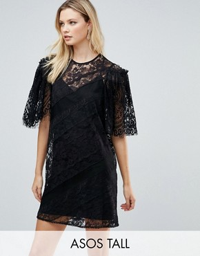 photo Delicate Lace Patchwork Flutter Sleeve Mini Dress by ASOS TALL, color Black - Image 1