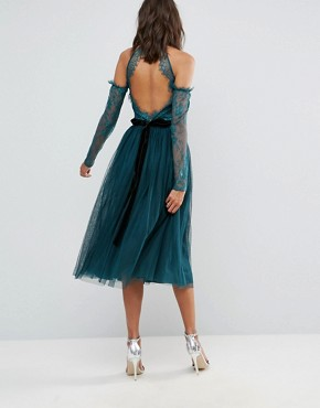 photo Tulle Cold Shoulder Midi Prom Dress by ASOS TALL PREMIUM, color Green - Image 2