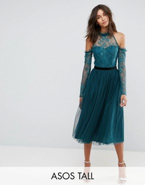 photo Tulle Cold Shoulder Midi Prom Dress by ASOS TALL PREMIUM, color Green - Image 1