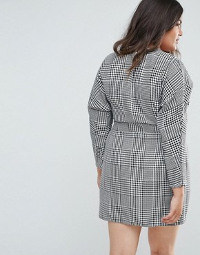 photo Mini Wrap Dress in Check by ASOS CURVE, color Multi - Image 2