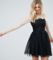 photo Sheer Top Tulle Mini Prom Dress by ASOS TALL PREMIUM, color Black - Image 2