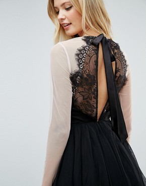 photo Sheer Top Tulle Mini Prom Dress by ASOS TALL PREMIUM, color Black - Image 3