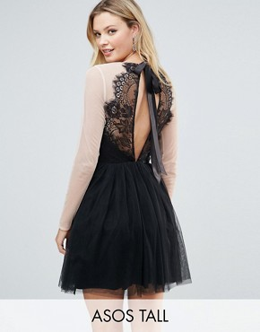 photo Sheer Top Tulle Mini Prom Dress by ASOS TALL PREMIUM, color Black - Image 1