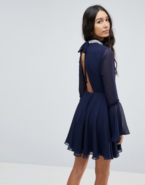 photo Embellished Frill Neck Fluted Sleeve Mini Dress by ASOS TALL, color Navy - Image 2