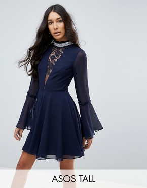 photo Embellished Frill Neck Fluted Sleeve Mini Dress by ASOS TALL, color Navy - Image 1