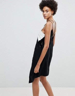 photo At the Bar Contrast Sequined Slip Dress by N12H, color Black - Image 2