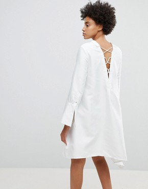 photo Early on Asymettric Shirt Dress by N12H, color White - Image 2