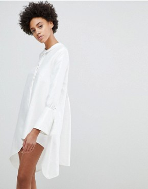 photo Early on Asymettric Shirt Dress by N12H, color White - Image 1