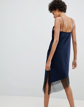 photo After Hours Lace Trim Slip Dress by N12H, color Navy Stripe - Image 2