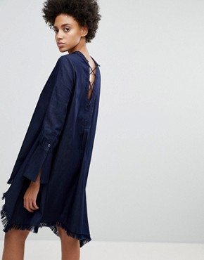 photo Early on Asymettric Shirt Dress by N12H, color Denim Blue - Image 2