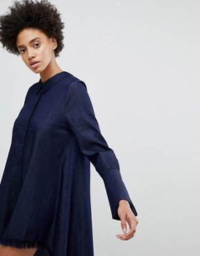 photo Early on Asymettric Shirt Dress by N12H, color Denim Blue - Image 3