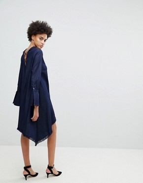 photo Early on Asymettric Shirt Dress by N12H, color Denim Blue - Image 4