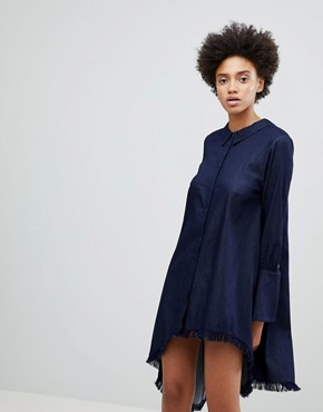 photo Early on Asymettric Shirt Dress by N12H, color Denim Blue - Image 1