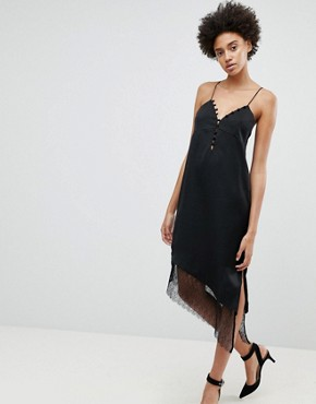 photo After Hours Lace Trim Slip Dress by N12H, color Black - Image 1