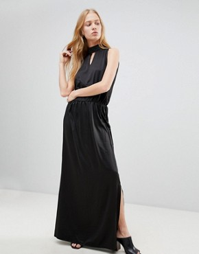 photo High Neck Maxi Dress by b.Young, color Black - Image 1