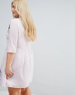 photo Eyelash Lace Mini Dress with Embroidery by ASOS CURVE PREMIUM, color Lilac - Image 2