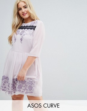 photo Eyelash Lace Mini Dress with Embroidery by ASOS CURVE PREMIUM, color Lilac - Image 1