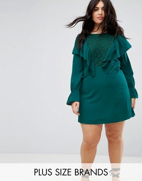 photo Lace Insert Dress with Ruffle by Rage Plus, color Green - Image 1