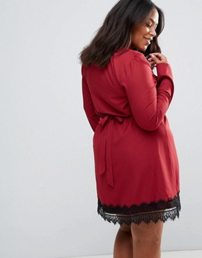 photo Wrap Dress with Lace Trim by Rage Plus, color Burgundy With Black - Image 2