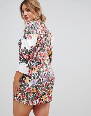 photo Printed Shift Dress with Placement Print by Club L Plus, color Multi - Image 2