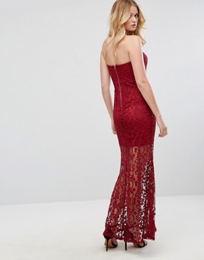 photo Strapless Maxi Dress in Lace by Liquorish, color Wine - Image 2