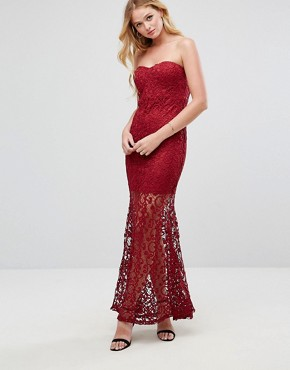 photo Strapless Maxi Dress in Lace by Liquorish, color Wine - Image 1
