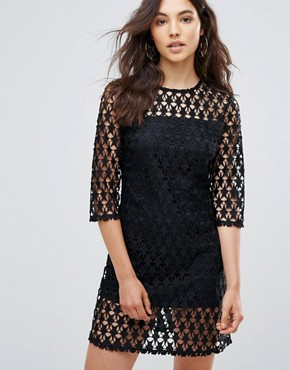 photo Star Lace Shift Dress by Liquorish, color Black - Image 1