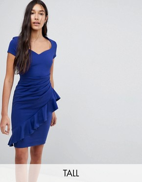 photo Pencil Midi Dress with Ruffle Detail by City Goddess Tall, color Royal Blue - Image 1