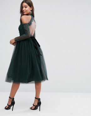 photo Lace Top Tulle Midi Prom Dress with Ribbon Ties by ASOS PREMIUM, color Green - Image 2