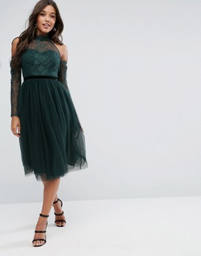 photo Lace Top Tulle Midi Prom Dress with Ribbon Ties by ASOS PREMIUM, color Green - Image 1