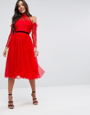 photo Tulle Cold Shoulder Midi Prom Dress by ASOS PREMIUM, color Red - Image 1