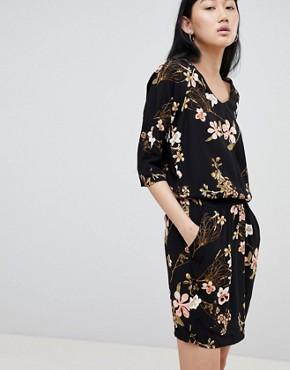 photo Floral Cowl Neck Dress by b.Young, color Black - Image 1