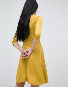photo V-Neck Skater Dress by b.Young, color Golden Yellow - Image 2