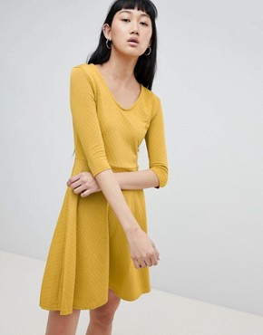 photo V-Neck Skater Dress by b.Young, color Golden Yellow - Image 1