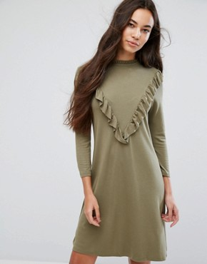 photo Ruffle High Neck Dress by b.Young, color Copenhagen Night - Image 1