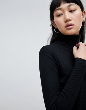photo Roll Neck Jumper Dress by b.Young, color Black - Image 3