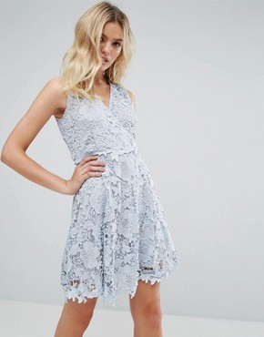 photo Occasion Lace Wrap Over Skater Dress by Amy Lynn, color Blue - Image 1