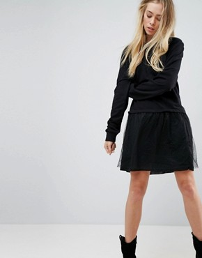 photo Leona 2 in 1 Sweater Dress by Brave Soul, color Black - Image 1