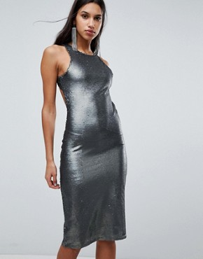photo Sequin Midi Dress by Glamorous, color Pewter - Image 2
