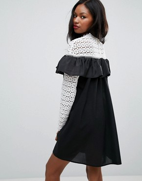 photo Long Sleeve Crochet High Neck Detailed Dress by Club L, color White/Black Bottom - Image 2