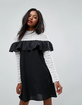 photo Long Sleeve Crochet High Neck Detailed Dress by Club L, color White/Black Bottom - Image 1