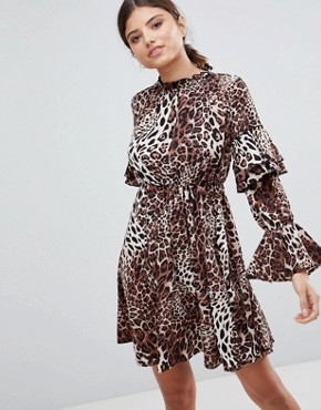 photo High Neck Leopard Detailed Tiered Arm Dress by Club L, color Leopard - Image 1