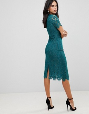 photo Detailed Midi Dress with Lace Overlay by Club L, color Teal - Image 2