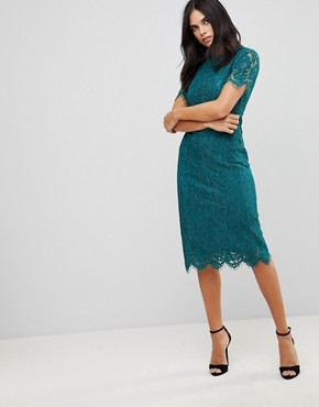 photo Detailed Midi Dress with Lace Overlay by Club L, color Teal - Image 1