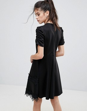 photo Detailed Crochet & Lace Skater Dress with Puff Detailed Sleeves by Club L, color Black - Image 2