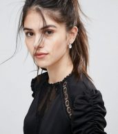 photo Detailed Crochet & Lace Skater Dress with Puff Detailed Sleeves by Club L, color Black - Image 3