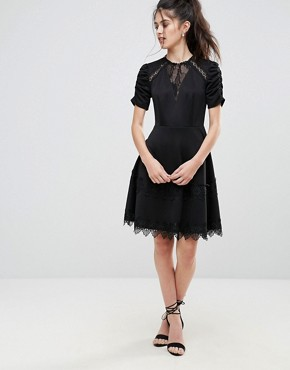 photo Detailed Crochet & Lace Skater Dress with Puff Detailed Sleeves by Club L, color Black - Image 4