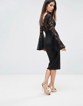 photo Lace Scallop Detail Midi Dress with Flute Sleeve Detail by Club L, color Black - Image 2